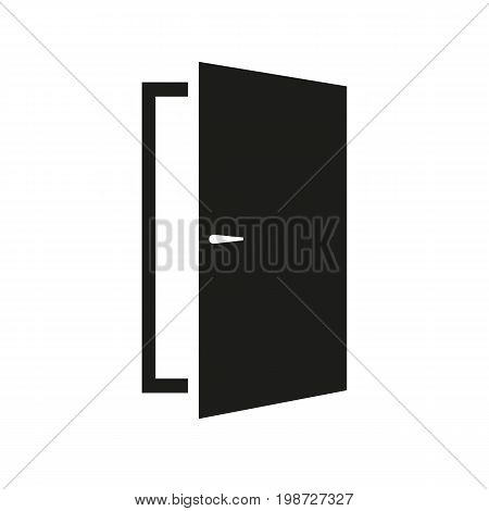 Simple icon of open door. Doorway, entrance, exit. Furnishing concept. Can be used for topics like furniture, application and button pictograms, information boards