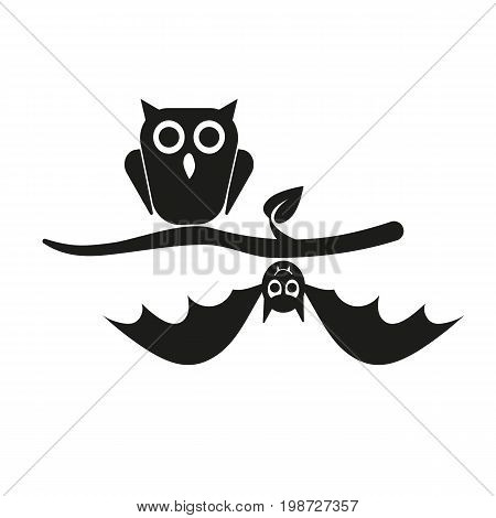 Simple icon of owl and bat sitting on branch. Night birds, zoo, fear. Halloween concept. Can be used for topics like holiday, animals, fauna