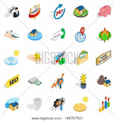 Meeting icons set. Isometric set of 25 meeting vector icons for web isolated on white background