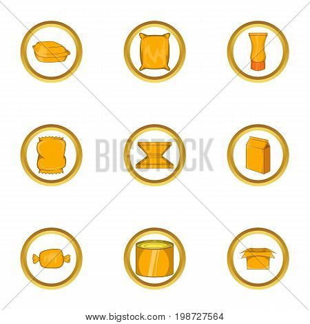 Packing industry icon set. Cartoon set of 9 packing industry vector icons for web isolated on white background