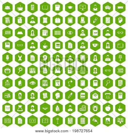 100 reader icons set in green hexagon isolated vector illustration