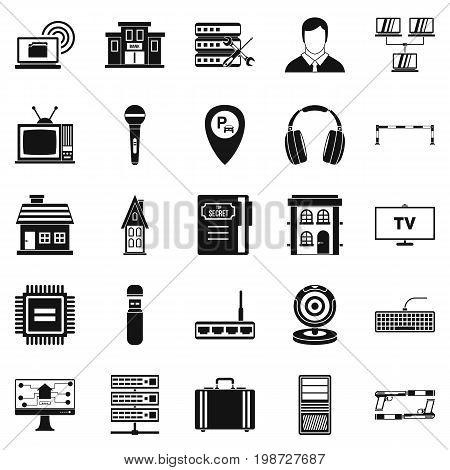 Recorder icons set. Simple set of 25 recorder vector icons for web isolated on white background