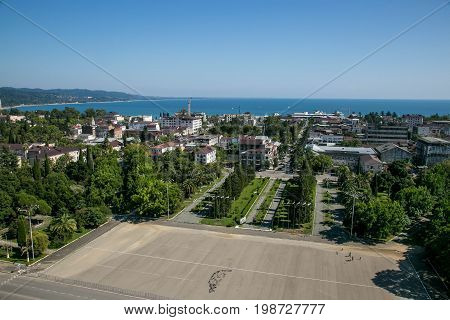 Aerial view of independance square in Sukhum, Abkhazia in summer