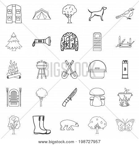 Habitat of animals icons set. Outline set of 25 habitat of animals icons for web isolated on white background