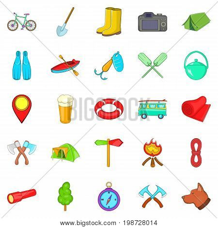 Terrain icons set. Cartoon set of 25 terrain vector icons for web isolated on white background