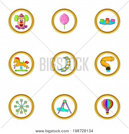 Amusement icon set. Cartoon set of 9 amusement vector icons for web isolated on white background