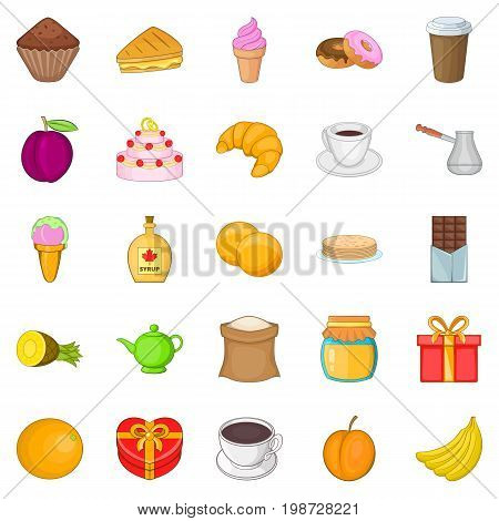 Sweetness icons set. Cartoon set of 25 sweetness vector icons for web isolated on white background