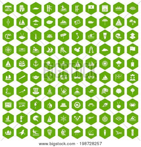 100 sailing vessel icons set in green hexagon isolated vector illustration