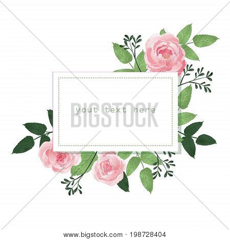 Vintage Baroque Frame with Blooming Roses. Greeting Card with Place for Your Text. Vector illustration. hand drawn watercolor. Design for invitation, wedding or greeting cards