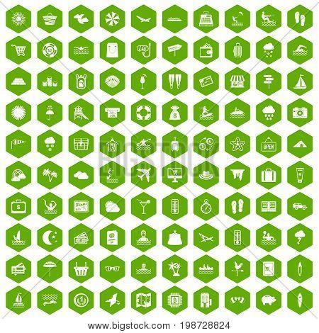 100 seaside resort icons set in green hexagon isolated vector illustration