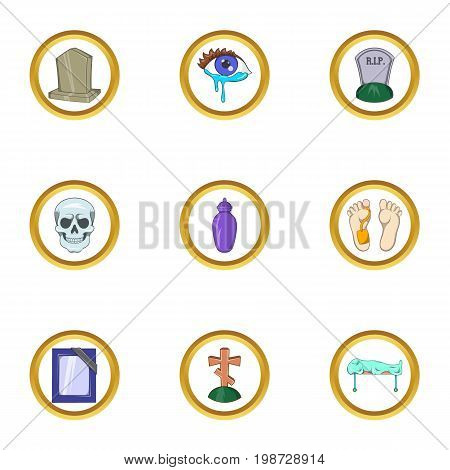 Death icon set. Cartoon set of 9 death vector icons for web isolated on white background