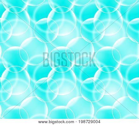 Vector seamless pattern with realistic bubbles. Abstract background.
