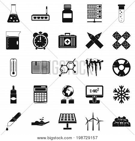 Chemical composition icons set. Simple set of 25 chemical composition vector icons for web isolated on white background