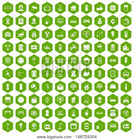 100 smart house icons set in green hexagon isolated vector illustration