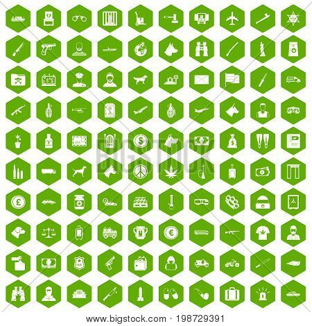 100 smuggling  icons set in green hexagon isolated vector illustration