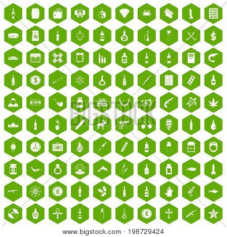 100 smuggling goods icons set in green hexagon isolated vector illustration