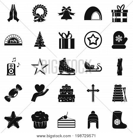 Xmas icons set. Simple set of 25 xmas vector icons for web isolated on white background