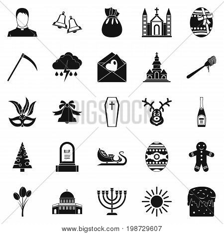 Faith icons set. Simple set of 25 faith vector icons for web isolated on white background