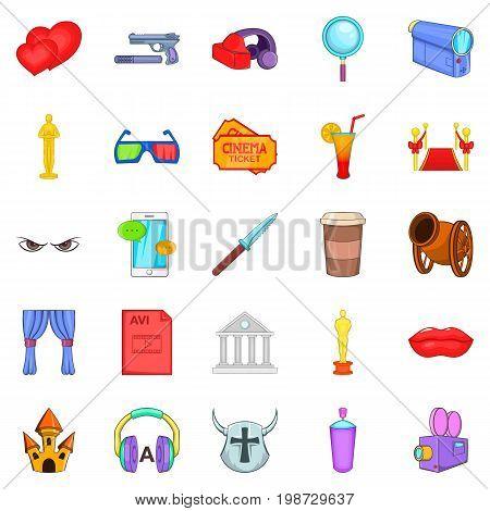 Cinerama icons set. Cartoon set of 25 cinerama vector icons for web isolated on white background