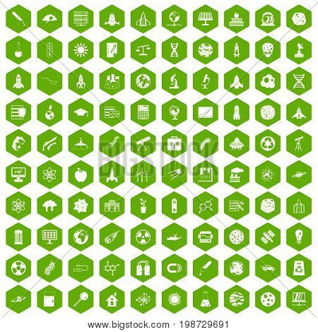 100 space icons set in green hexagon isolated vector illustration