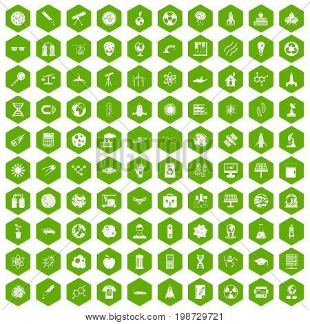100 space technology icons set in green hexagon isolated vector illustration