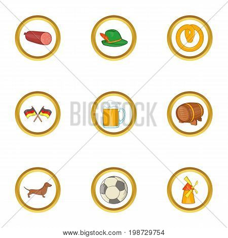 Germany traditions icon set. Cartoon set of 9 germany traditions vector icons for web isolated on white background