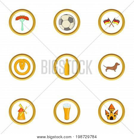 Welcome germany icon set. Cartoon set of 9 welcome germany vector icons for web isolated on white background
