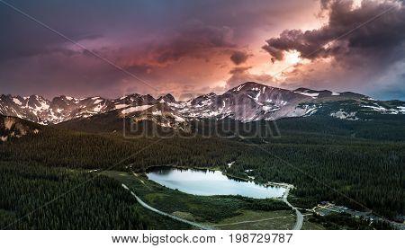 Brainard Lake Panorama At Sunset