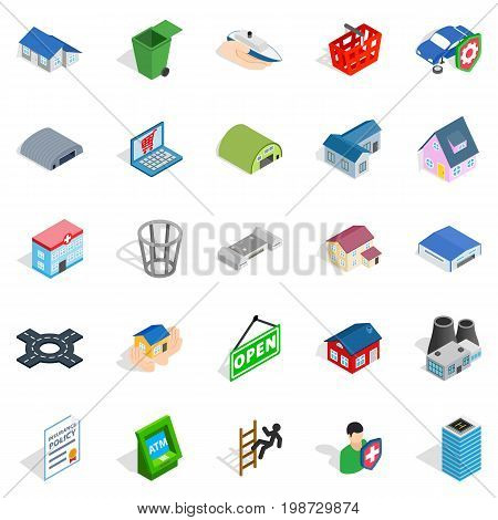 Town hall icons set. Isometric set of 25 town hall vector icons for web isolated on white background