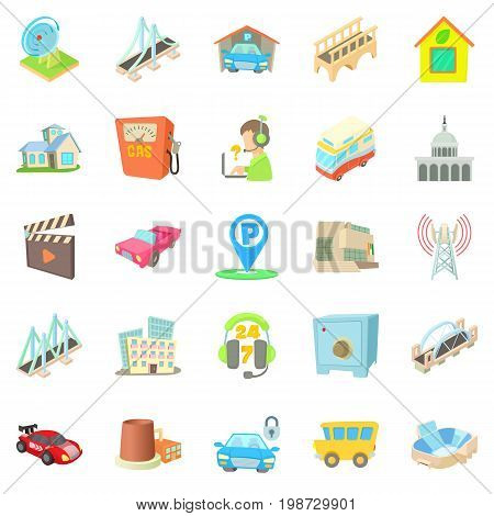 Burg icons set. Cartoon set of 25 burg vector icons for web isolated on white background
