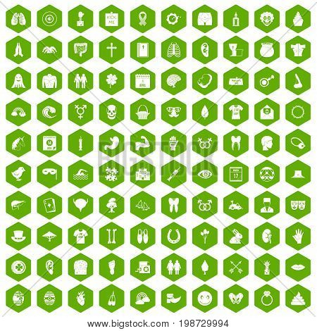 100 spring holidays icons set in green hexagon isolated vector illustration