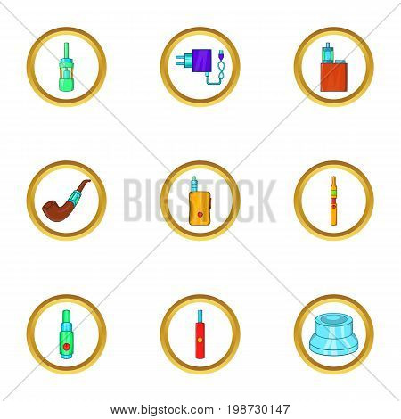 Electronic cigarette icon set. Cartoon set of 9 electronic cigarette vector icons for web isolated on white background