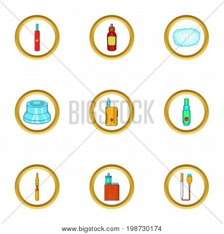 Electronic smoke device icon set. Cartoon set of 9 electronic smoke device vector icons for web isolated on white background