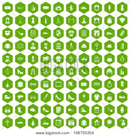 100 stylist icons set in green hexagon isolated vector illustration