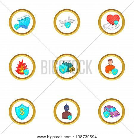 Natural disaster insurance icon set. Cartoon set of 9 natural disaster insurance vector icons for web isolated on white background