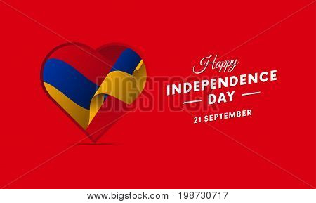 Armenia Independence Day. 21 September. Waving flag in heart. Vector illustration.