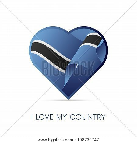 Botswana flag in heart. I love my country. sign. Vector illustration.