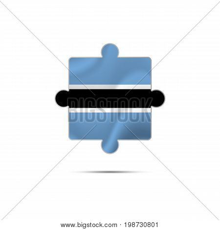 Isolated piece of puzzle with the Botswana flag. Vector illustration.