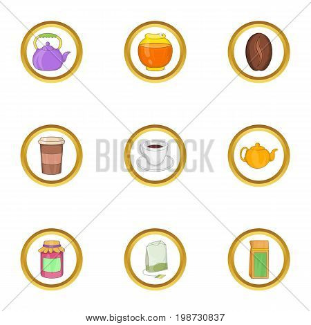 Morning drinks icon set. Cartoon set of 9 morning drinks vector icons for web isolated on white background
