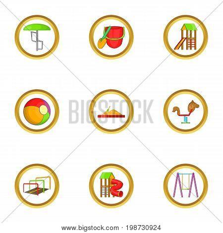 Playground icon set. Cartoon set of 9 playground vector icons for web isolated on white background