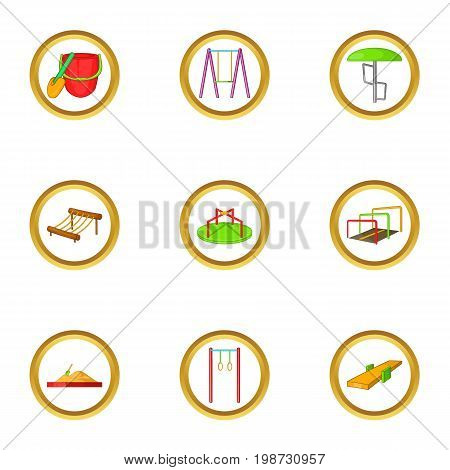 Children playground icon set. Cartoon set of 9 children playground vector icons for web isolated on white background
