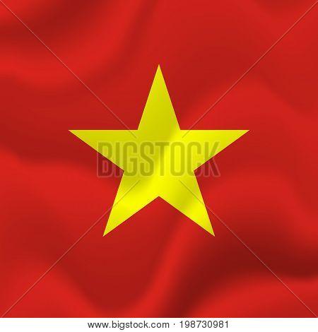 Vietnam waving flag. Waving flag. Vector illustration.
