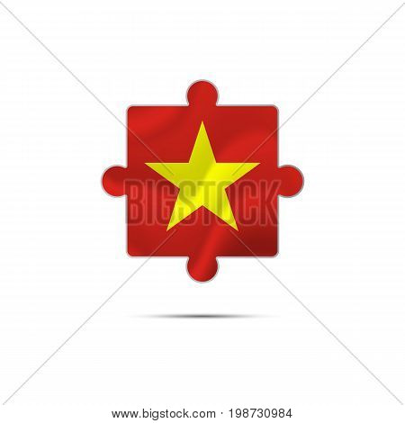 Isolated piece of puzzle with the Vietnam flag. Vector illustration.