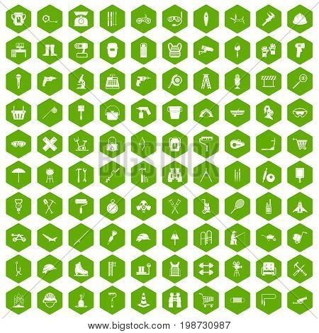 100 tackle icons set in green hexagon isolated vector illustration