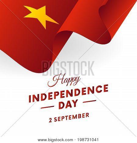 Vietnam Independence Day. 2 September. Waving flag. Vector illustration.