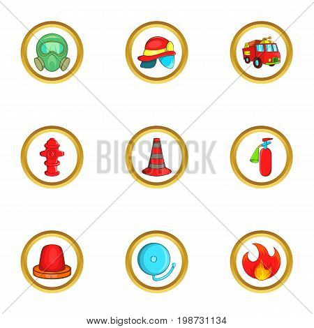 Firefighters icon set. Cartoon set of 9 firefighters vector icons for web isolated on white background