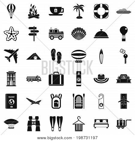 Travel luggage icons set. Simple style of 36 travel luggage vector icons for web isolated on white background