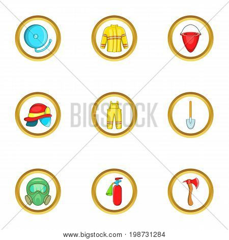Firefighter service icon set. Cartoon set of 9 firefighter service vector icons for web isolated on white background
