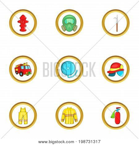 Firefighter department icon set. Cartoon set of 9 firefighter department vector icons for web isolated on white background