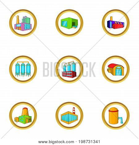 Industrial building icon set. Cartoon set of 9 industrial building vector icons for web isolated on white background